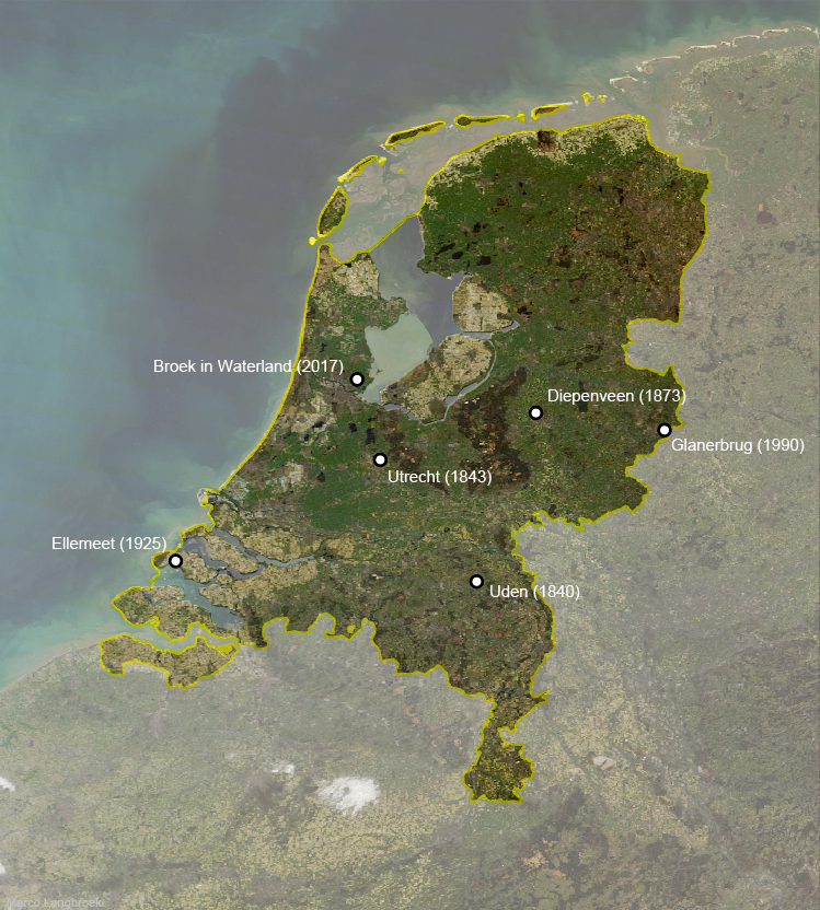 The landing sites and discovery dates of the six known Dutch meteorites falls over history. Credit: M. Langbroek.