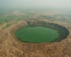 Aerial view of Lonar crater, India